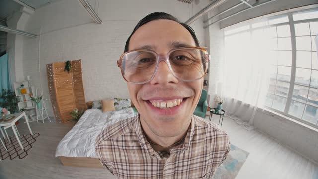 Funny nerd send a kiss