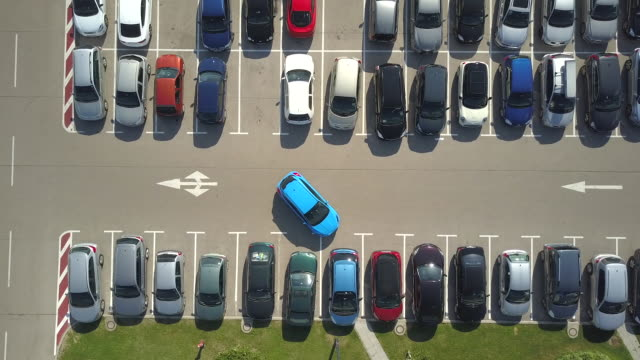 AERIAL HYPERLAPSE Funny parking fail when bad driver can't park car in parkspace video