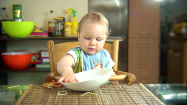 Funny scene with spaghetti & baby. Lots of emotions. PAL video