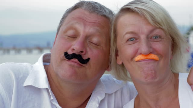 Funny senior couple with moustache video