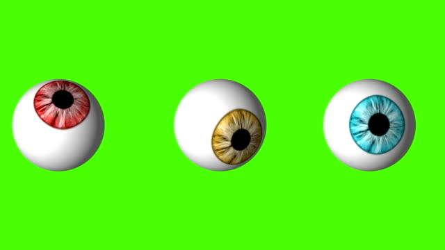 stockvideo's en b-roll-footage met grappige set van oogbollen kijken rond op een groen schermachtergrond - reus fictief figuur