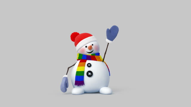 Funny Snowman Animation Funny Snowman with a Scarf of Color of Lgbt. You can easily change any colors. Beautiful 3d animation, 4K snowman stock videos & royalty-free footage