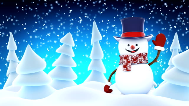 Funny Snowman High-Hat Going on Stage Waving and Smiling in Winter Forest. Beautiful Looped 3d Cartoon Animation. Animated Greeting Card. Merry Christmas and Happy New Year Concept. video