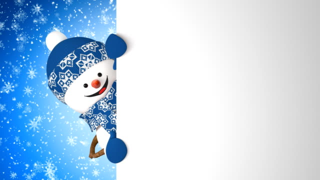 Funny Snowman in Blue Cap Greeting with Hand and Smiling on Snowfall Background. Beautiful 3d Cartoon Animation Green Screen Alpha Matte. Animated Greeting Card New Years Eve. Funny Snowman in Blue Cap Greeting with Hand and Smiling on Snowfall Background. Beautiful 3d Cartoon Animation Green Screen Alpha Matte. Animated Greeting Card New Years Eve. 4k Ultra HD 3840x2160 snowman stock videos & royalty-free footage
