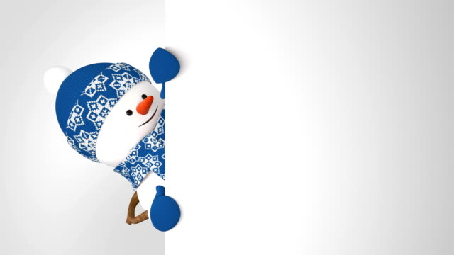 funny snowman in blue cap greeting with hand and smiling on white background. beautiful 3d cartoon animation green screen alpha. animated greeting card. last frames looped. - cappello video stock e b–roll