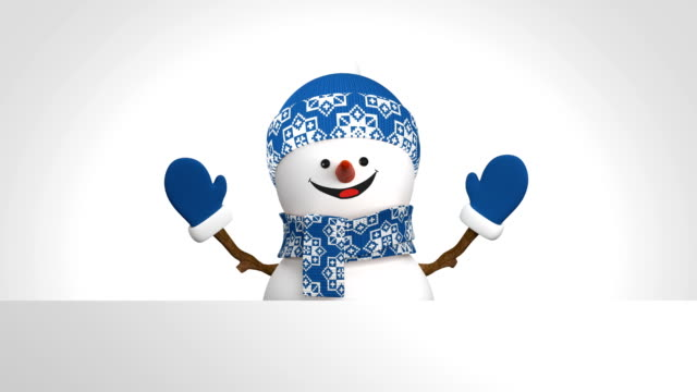 Funny Snowman in Blue Hat Greeting with Hand and Smiling on White Background. Beautiful 3d Cartoon Animation Green Screen Alpha Matte. Animated Greeting Card. Last Frames Loop-able. Funny Snowman in Blue Hat Greeting with Hand and Smiling on White Background. Beautiful 3d Cartoon Animation Green Screen Alpha Matte. Animated Greeting Card. Last Frames Loop-able. 4k UHD 3840x2160. snowman stock videos & royalty-free footage