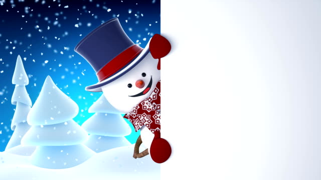 Funny Snowman in High-Hat Waving and Laughing at White Board. Beautiful 3d Cartoon Animation with Green Screen. Animated Greeting Card. Merry Christmas and Happy New Year Concept.
