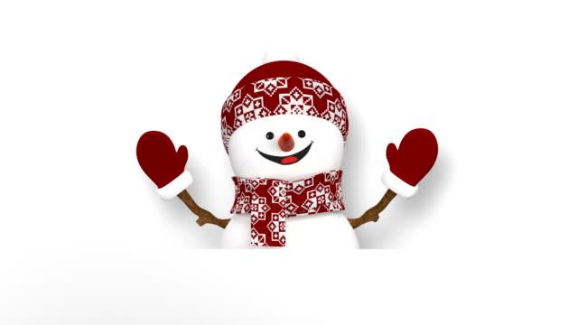 vídeos y material grabado en eventos de stock de divertido muñeco de nieve en rojo sombrero saludo con las manos y sonriendo. hermoso 3d de dibujos animados animación con pantalla verde. animada de felicitación tarjeta feliz navidad y feliz año nuevo concepto. - snowman