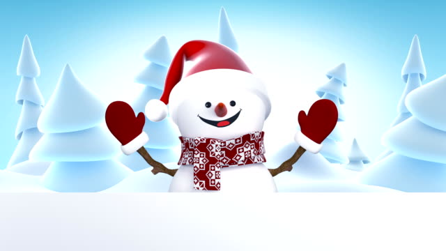 Royalty free frosty the snowman hd video 4k stock footage b roll funny snowman in santa claus cap greeting with hands and smiling beautiful 3d cartoon animation m4hsunfo