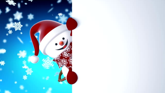 funny snowman in santa claus cap greeting with hands and smiling. beautiful 3d cartoon animation with green screen. animated greeting card. merry christmas and happy new year concept. - christmas background стоковые видео и кадры b-roll