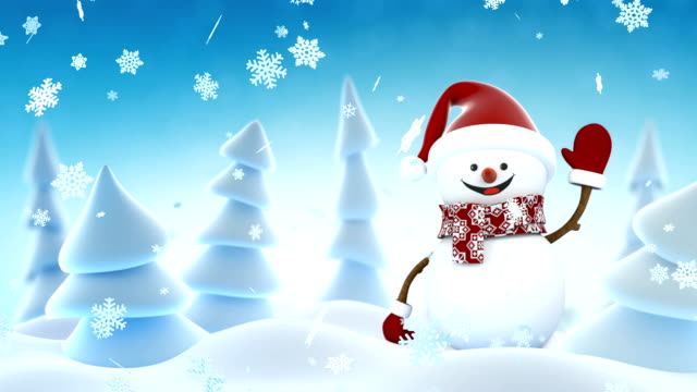 Funny Snowman in Santa Claus Cap Waving and Smiling in Winter Forest. Beautiful Looped 3d Cartoon Animation. Alpha Matte Green Screen. Merry Christmas and Happy New Year Concept. Funny Snowman in Santa Claus Cap Waving and Smiling in Winter Forest. Beautiful Looped 3d Cartoon Animation. Alpha Matte Green Screen. Merry Christmas and Happy New Year Concept. Full HD 1920x1080. snowman stock videos & royalty-free footage