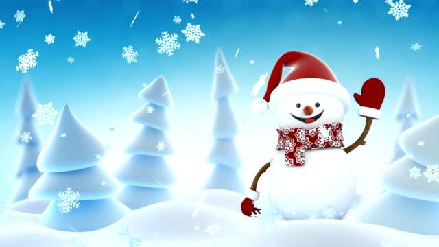 Lustiger Schneemann in Santa Claus Kappe winken und Lächeln im Winterwald. Schöne Schleife 3d Zeichentrick. Alpha Matte Green-Screen. Frohe Weihnachten und frohes neues Konzept. – Video