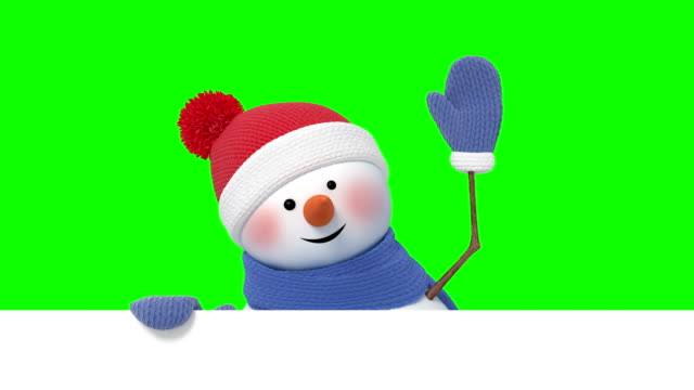 vídeos de stock e filmes b-roll de funny snowman in santa`s hat greeting and smiling - feriado