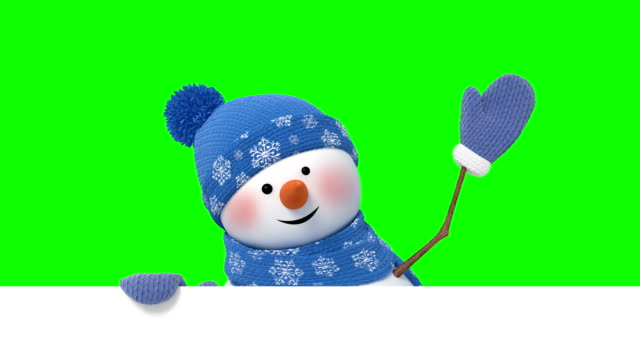 funny snowman looks out and greeting - cappello video stock e b–roll