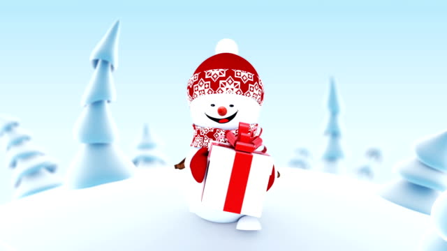 Funny Snowman Walking in Winter Forest Holding a Present Box Smiling. Beautiful Looped 3d Cartoon Animation. Animated Greeting Card. Merry Christmas and Happy New Year Concept. Funny Snowman Walking in Winter Forest Holding a Present Box Smiling. Beautiful Looped 3d Cartoon Animation. Animated Greeting Card. Merry Christmas and Happy New Year Concept. Full HD 1920x1080. snowman stock videos & royalty-free footage
