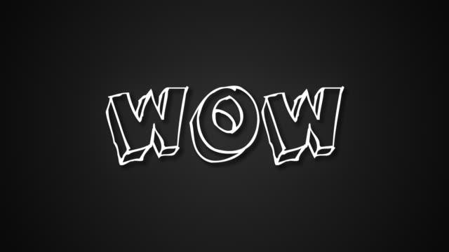 lustiger text wow mit rahmen wie würmer, 3d rendering hintergrund, computergenerierte kulisse für glückliche kreative - comic font stock-videos und b-roll-filmmaterial