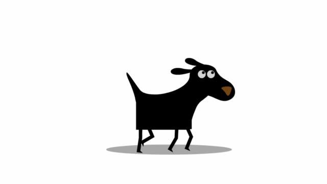 lustige gehen hund, cartoon-animation. - hundesitter stock-videos und b-roll-filmmaterial
