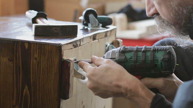 DIY Furniture making attaching wheels onto wooden crate video