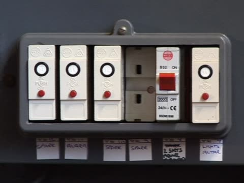 Fuse box 1 Slow pan to right of a Fuse Box - Tripod futebol stock videos & royalty-free footage