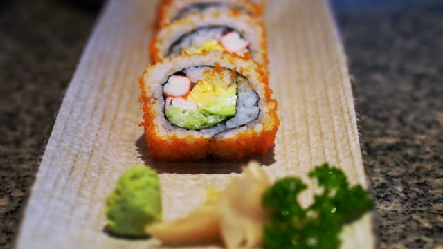 Futomaki, famous Japanese cuisine roll sushi video