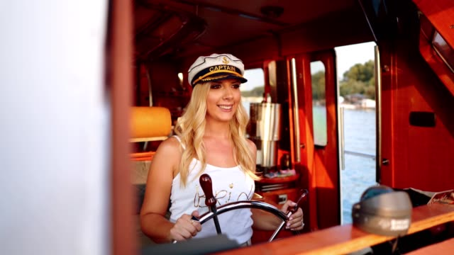 future bride for the helm on the boat - bachelorette party stock videos & royalty-free footage