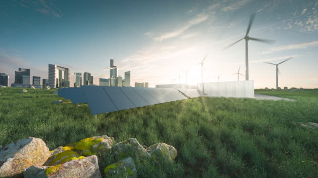 vídeos de stock e filmes b-roll de future renewable energy solution for sustainable cities. modern black frameless solar panels, battery energy storage facility, wind turbines and big city with skycrapers in background. 3d rendering. - energia solar