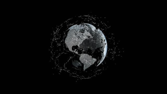 futuristiska 3d jorden med prickar och anslutningar omloppsbana runt, teknik koncept - jorden nyheter bildbanksvideor och videomaterial från bakom kulisserna