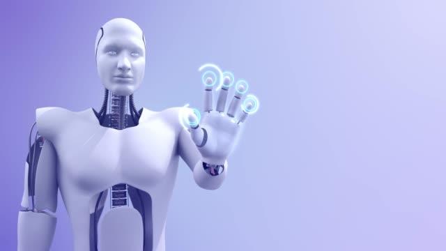 Fütüristik gelişmiş insansı robot kontrol bilgisayar video