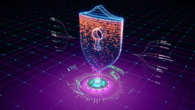 粒子によって形成される防御的な盾の未来のアニメーション ビデオ