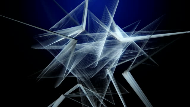 Futuristic animation with abstract 3D objects in slow motion, loop HD 1080p video
