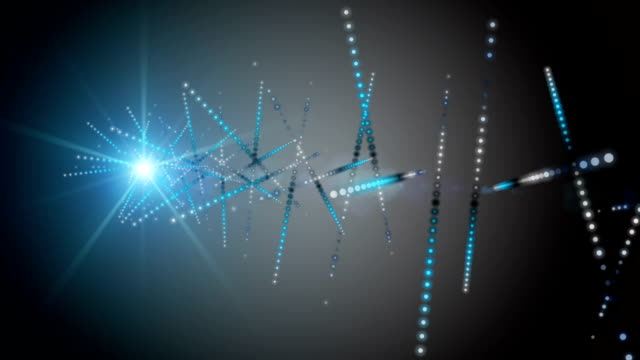 Futuristic animation with particle stripe object and light in slow motion, loop HD 1080p video
