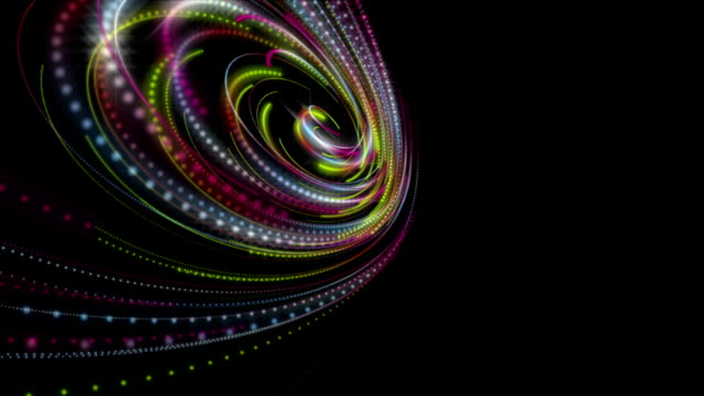 Futuristic animation with particle stripe object and light shimmer in slow motion, loop HD video