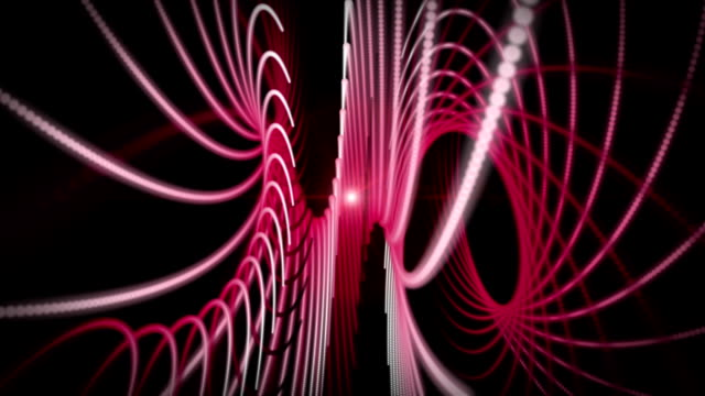 Futuristic animation with stripe object and light in motion, loop HD video