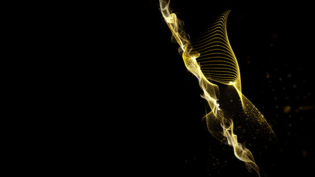 Futuristic animation with wave and particles in slow motion, loop HD 1080p video