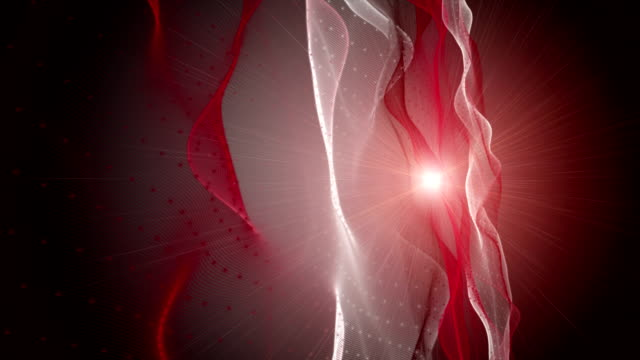 Futuristic animation with wave object and light in slow motion, loop HD 1080p video