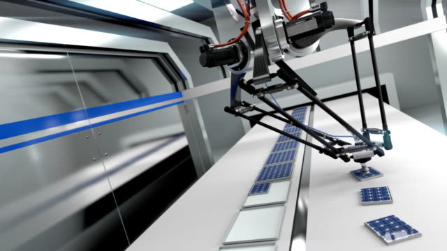 未来的なアセンブリライン-シームレスなループ - ロボット点の映像素材/bロール