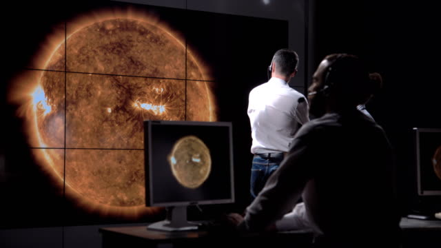 futuristic astronomy team and solar presentation - astronomia video stock e b–roll