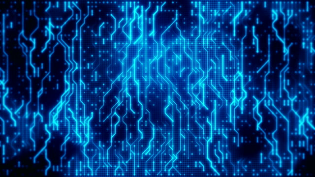 Futuristic blue circuit board with moving data  in neural network. Technology loopable background.