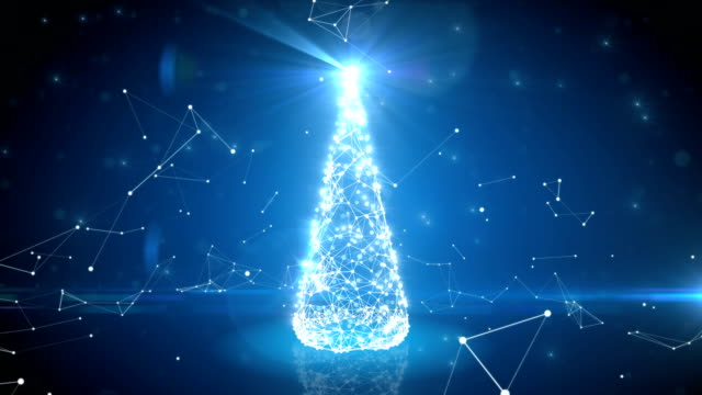 vídeos de stock e filmes b-roll de futuristic blue digital christmas tree growing in abstract cyberspace with links and connections. flickering lights. merry christmas and happy new year concept. - arvore de natal