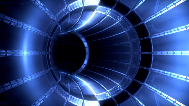 Futuristic blue light tunnel, seamless loop video