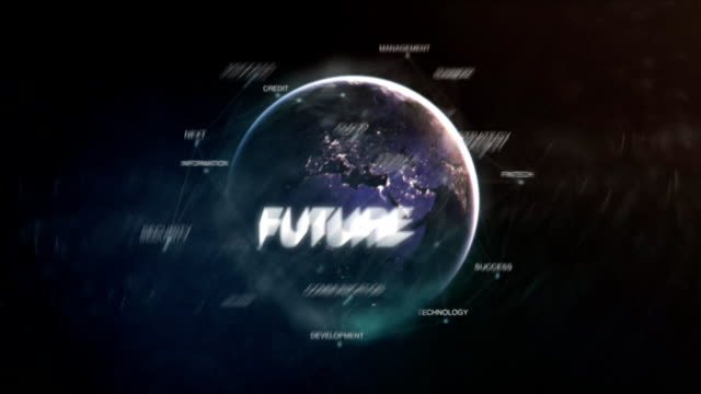 Futuristic business oriented words cloud animation loop. 3D technology earth from space word set including teamwork,future,growth,strategy,people.Success concept.Loopable FullHD video