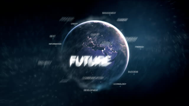 Futuristic business oriented words cloud blue modern animation loop. 3D technology earth from space word set including teamwork,future,growth,strategy,people.Success concept.Loopable FullHD video
