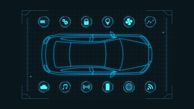 futuristic car concept futuristic hud template for an electric car connected online, concept of modern automotive industry and IoT dashboard vehicle part stock videos & royalty-free footage