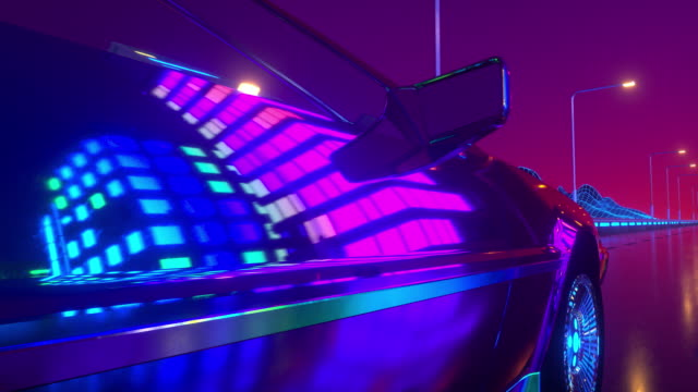Futuristic car with neon lights abstract background. Retrowave loop 3d animation