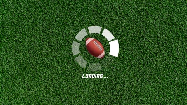 4K Futuristic circle progress bar animation with american football rotation movement