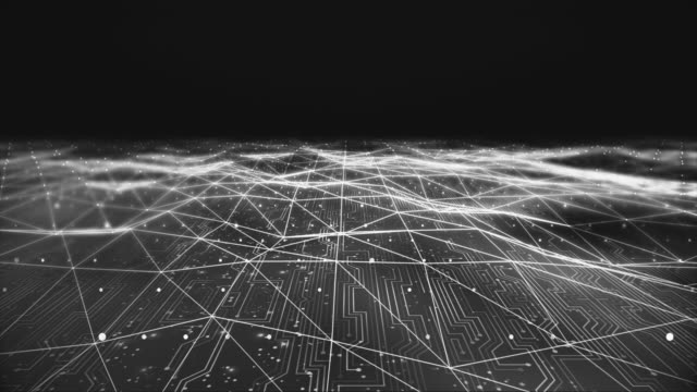 Fütüristik devre kartı animasyon Bokeh etkileri ile video