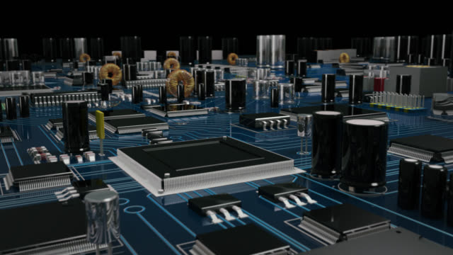 Futuristic circuit Board. Blue. Loopable. Technology background. video