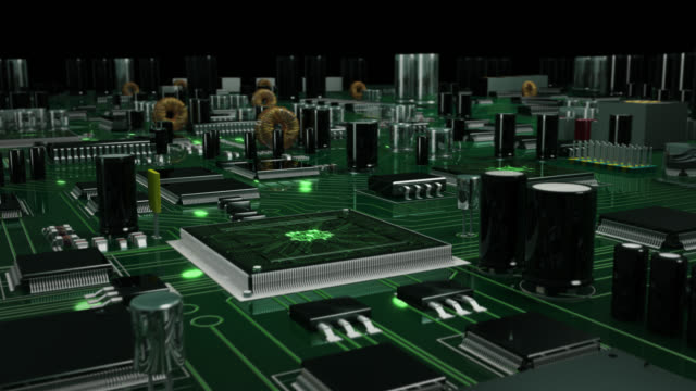 Futuristic circuit board with moving electrons. Loopable. Green. Technology background.