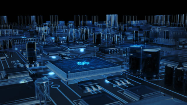 Futuristic circuit board with moving electrons. Loopable. Technology. Transparent blue. Flying over a circuit board ending on the CPU with blue electrons. This video is loopable from frame 588 to 851. electrical equipment stock videos & royalty-free footage