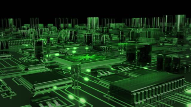 vídeos y material grabado en eventos de stock de placa de circuito con movimiento futurista los electrones. en bucle. transparente verde. la tecnología. - placa madre